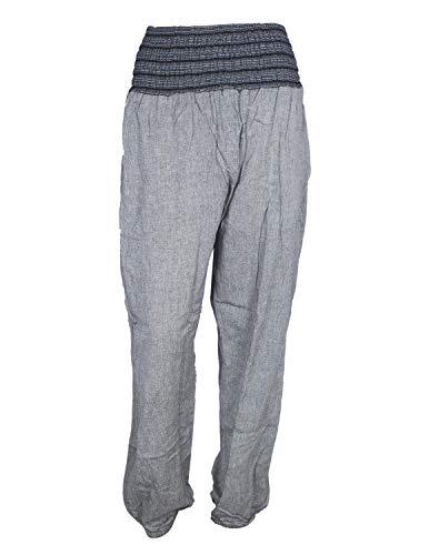 Vishes - Alternative Bekleidung - Leichte Damen Chino Haremshose mit dehnbarem Bund Taschen grau