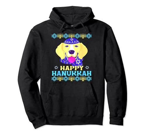 Cute Beagle Dog Decor Graphic Hanukkah Pullover Hoodie