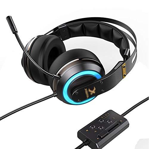 H- EarphoneCasque de Jeu E-Sports, Casque avec Micro, Micro-Casque à réduction de Bruit, Casque avec Micro-Casque Filaire pour Ordinateur de Poche