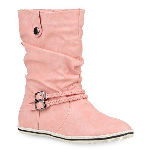 Damen Stiefeletten Schlupfstiefel Flach Stiefel Leder-Optik Metallic Boots Trendy Übergangs Schuhe 106481 Rosa 37 Flandell