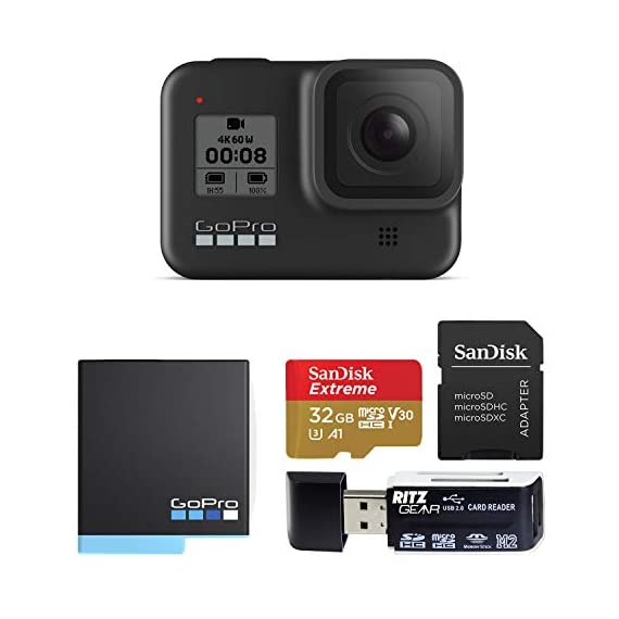 GoPro Hero 8 Black Edition Action Camera Kit with Sandisk Extreme 32GB Memory Card, Card Reader and GoPro Hero 8 Spare… 1 Streamlined design - The reimagined shape is more pocketable, and folding fingers at the base let you swap mounts quickly. A new side door makes changing batteries even faster, and the lens is now 2x more impact resistant. HERO8 Black Mods - Vloggers, pro filmmakers and aspiring creators can do more than ever imagined—with quick-loading accessories like flashes, microphones, LCD screens and more. Just add the optional Media Mod to up yourcapture game. Time Warp 2. 0 - Capture super stabilized time lapse videos while you move through an activity. And now, Time Warp automatically adjusts speed based on motion, scene detection and lighting. You can even slow down the effect to real time—savoring interesting moments—and then tap to speed it back up.
