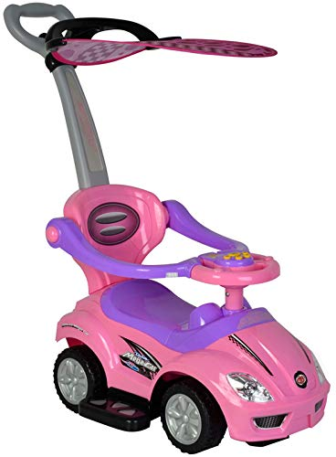 ChromeWheels 3 in 1 Ride on Toys Pushing Car with Removable Sun Visor,Mega Car for Toddler Wagon Handle Stroller,Color Pink