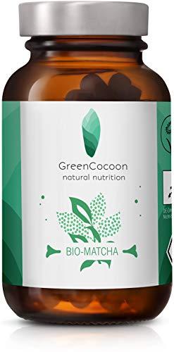 Bio Matcha Grüntee Kapseln GreenCocoon – vegan und Bio zertifiziertes Matcha Pulver aus Japan/Grüntee Extrakt ohne Zusätze (Glas 60 Kapseln á 400 mg)