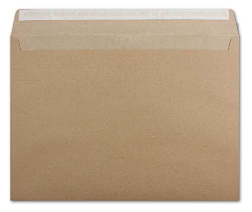 Briefumschlag in DIN C4 Format aus Kraft-Papier in braun - 25 Stück - Haftklebung - 22,9 x 32,4 cm - Brief-Umschläge aus Recycling-Papier - Post-Umschläge ohne Fenster - Serie UmWelt