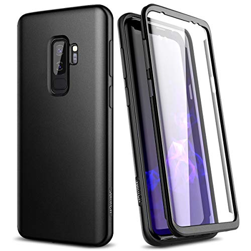 SURITCH Kompatibel mit Samsung Galaxy S9 Plus 360 Grad Hüllen mit Integriertem Displayschutz Silikon Komplettschutz Handyhülle Schutzhülle für Samsung Galaxy S9 Plus Schwarz