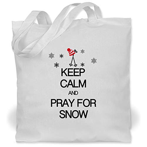 Shirtracer Keep calm - Keep calm and pray for snow - Unisize - Weiß - Zipfelmütze - WM101 - Stoffbeutel aus Baumwolle Jutebeutel lange Henkel