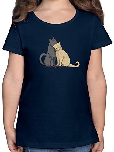 Tiermotiv Animal Print - kuschelnde Katzen - 152 (12/13 Jahre) - Dunkelblau - Kinder Shirt Katze - F131K - Mädchen Kinder T-Shirt