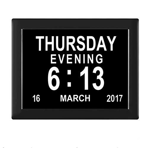 Febelle Marco Reloj Digital Calendario para Fotos Vídeos música para Ancianos y Pacientes 8 Opciones de Alarmas y Recordatorios de Medicamentos (Negro)