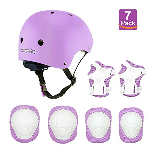 Skateboard Helm Kinder, COOLGOEU 7 in 1 Protektorenset Kinder mit Knieschoner, Ellenbogenschoner und Handgelenkschoner für Inlineskates, Skateboard, Hoverboard, Fahrrad, BMX-Fahrrad (Lila)