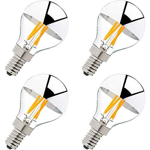 SUOMO Lámpara Semi cromada Regulable de 4 W (Equivalente a 40 vatios) Lámpara LED Decorativa Montaje en Blanco cálido Edison E26 Plateado 4 Pack,E27 220V