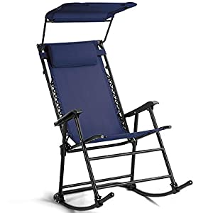 Folding Rocking Chair Patio Furniture W/Canopy Blue-Nursery Rocking Chair-Rocking Chair for Baby-Glider Planes for Kids-Glider Chairs, Ottomans & Rocking Chairs-Rocking Chair