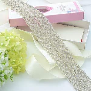 ShinyBeauty RA027 - Cinturón de boda con cristales de estrás y diamantes de imitación, diseño romántico, Apliques de diamantes de imitación de cristal., Plateado, RA027
