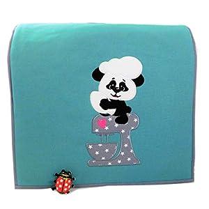 Abdeckhaube für Kitchenaid, Panda* Artisan, Clasic Mint, Applikation, Stickerei, Baumwolle, Henkel,