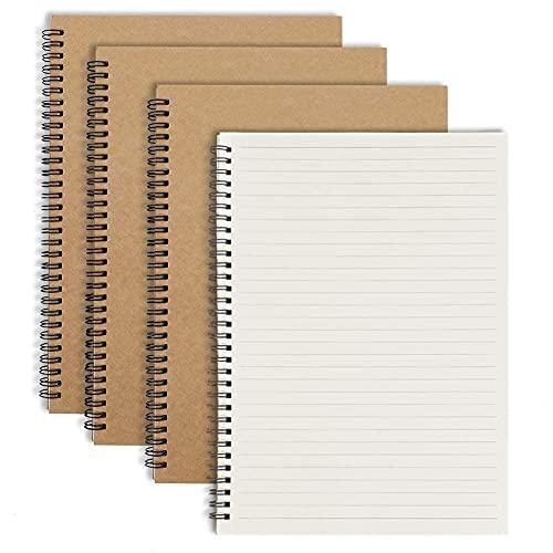 Bloc de Notas Espiral A4 Cuaderno Forrado, Pequeña Cuaderno de Notas Con Líneas, Cubierta de Kraft Lineado y Punteado - Set de 4 - Perfecto para Viaje, Escolar Escribir