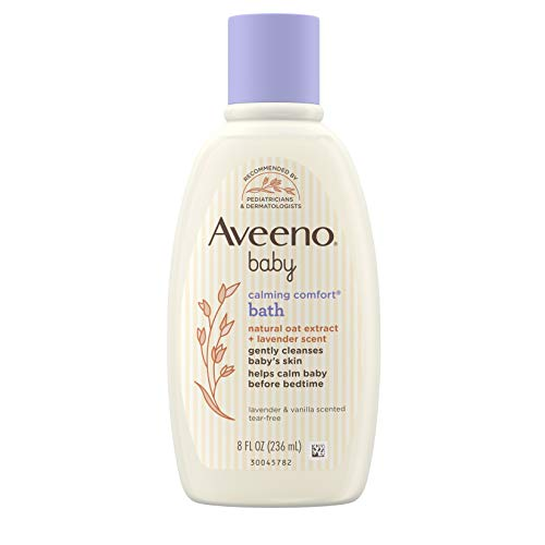 Aveeno Baby Calming Comfort Bath & Wash with Relaxing Lavender & Vanilla Scents & Natural Oat Extract, Hypoallergenic & Tear-Free Formula, Paraben-, Phthalate- & Soap-Free, 8 fl. oz, pack of 2