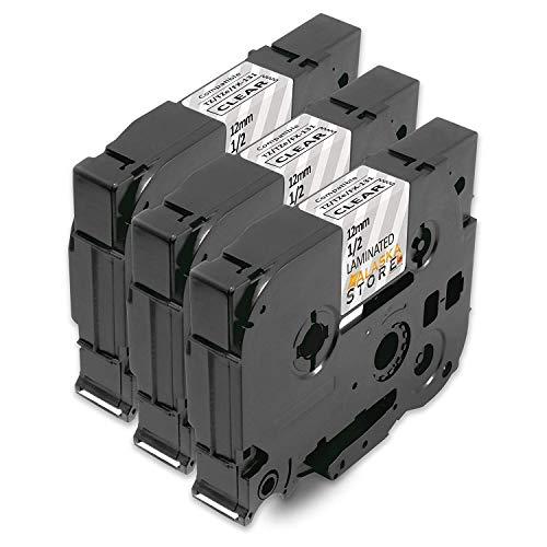 3x kompatible SchriftbandKassette als Ersatz für Brother P-Touch für Tape TZE-131 TZE131 TZ-131 TZ131 TZ 131 12mm Schwarz auf Transparent für Brother P-Touch GL-100 PT-1000 PT-1000BM PT-1010 PT-1010B P-Touch 1000W