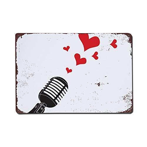 happygoluck1y Microfoon Hart Liefde Valentijnsdag Vintage Retro Metalen Tekenen Muur Art Tin Teken Plaque Vanetines Dag Geschenken voor Jongens voor Hem Meisjes Vrouw Geschenken