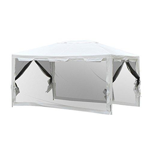 Outsunny Gazebo Tenda con Zanzariera da Giardino 4 × 3 m in Tessuto PE Bianco
