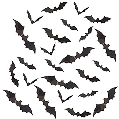 3D Bats Wall Decal, 144 Pcs Scary 3D Bats Wall Stickers for Halloween Party Decoration