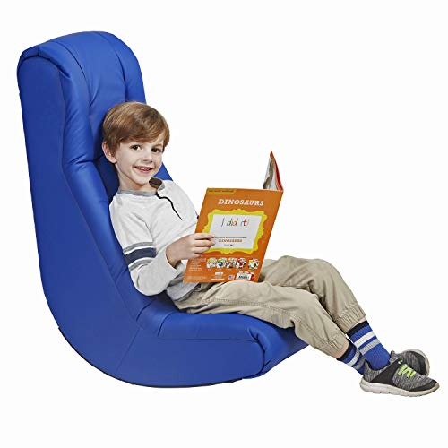 Factory Direct Partners - 10488-BL -10488 Soft Floor Rocker - Cushioned Ground Chair for Kids Teens and Adults - Great for Reading, Gaming, Meditating, TV - Blue