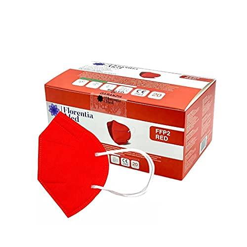Florentia Med Mascherine FFP2 SMALL ROSSE MADE IN ITALY Certificate CE Categoria DPI: III, conformi EN 149:2001 + A1:2009. Box da 20 pezzi Confezionate e sigillate singolarmente