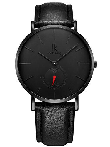Alienwork Herren Damen Armbanduhr Quarz schwarz mit Lederarmband Ultra-flach Slim-Uhr
