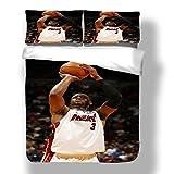Zozun Juego de Funda nórdica Dywane Miami Basketball Player 3 Ropa de Cama Flash Wade Heat Super Star Game Clock Double Pump Edredón con 2 Fundas de Almohada Cleveland Chicago Cavaliers Bulls