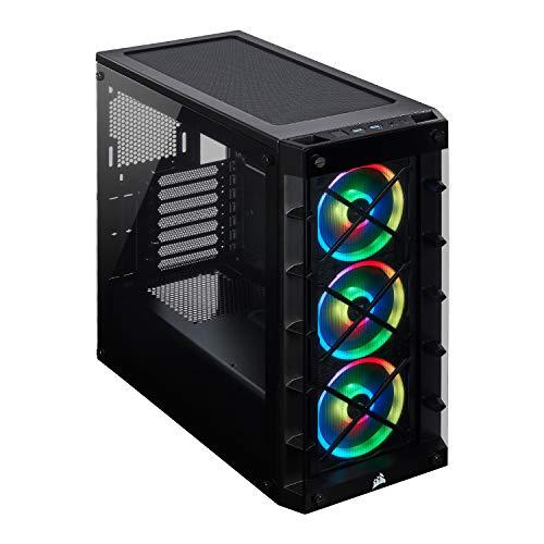 Corsair iCUE 465X RGB Vetro Temprato Smart Case Mid-Tower ATX, Pannelli Laterali e Anteriore in Vetro Temprato, Tre Ventole LL120 RGB Incluse, Opzioni Versatili di Raffreddamento, Nero