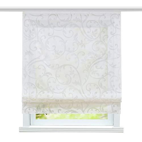 ESLIR Raffrollo mit Klettband Wohnzimmer Raffgardine Ausbrenner Gardinen Modern Bändchenrollo Vorhänge Weiß BxH 140x140cm 1 Stück