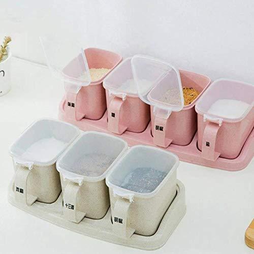 Spice potje container binnen plastic kruiderij shaker keukenzout tuning spel creatieve keuken,roze Quad