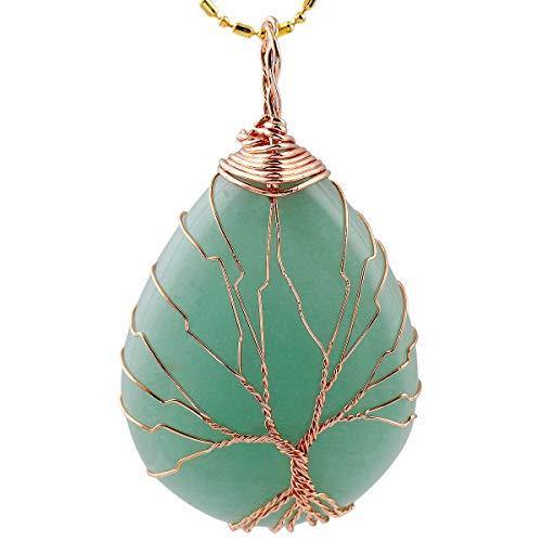 KYEYGWO Baum des Lebens Stein Anhänger Halskette für Unisex, Wire Wrap Teardrop Anhänger mit Kette 22