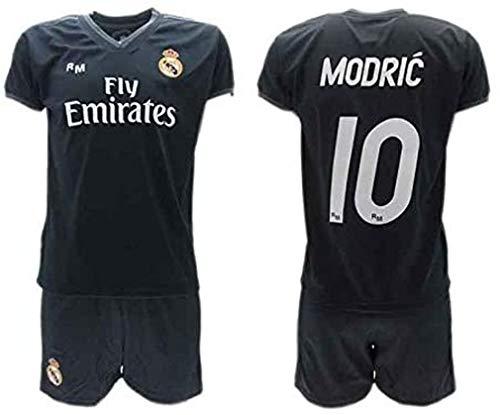 Komplett Offiziell Fußball Luka Modric 10 Real Madrid C.F. Zweite Trikot SCHWARZ Saison 2018-2019 Replica OFFIZIELLE mit Lizenz - Geschenkbox Shirt + Shorts (4 Jahre)