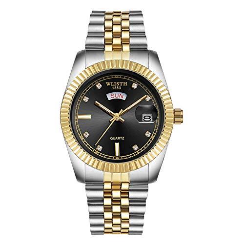 Relojes para Hombre Reloj de Cuarzo analógico Impermeable con cronógrafo para Hombre -B