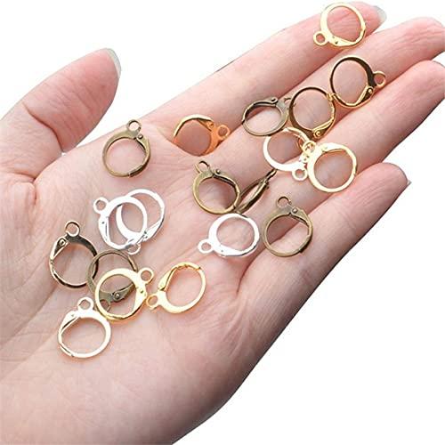 Smalllook 20/100 unids/14x12mm oro francés palanca pendiente ganchos de alambre configuración base pendientes aros para joyería encontrar suministros (oro rosa - 20 piezas)
