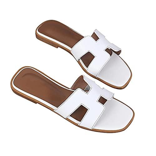 YXCKG Zapatillas para Mujer, Sandalias Planas De Verano, Zapatillas Deslizantes De Cuero, Sandalias De Playa Zapatillas De Mujer De Moda, Zapatos De Punta Abierta con Suela De Goma