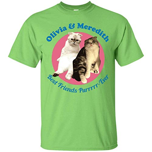 Mens Cotton Tee Printing Olivia Meredith Best Friends Shirts O Neck for Summer Green Medium