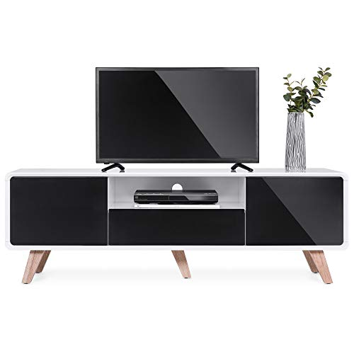 Best Choice Products 59in Mid-Century Modern TV Stand Entertainment Console Center for Television Screens Up to 65-Inches w/ 2 Cabinets, Magnetic Push-to-Open Doors, Soft-Closing Hinges, Drawer