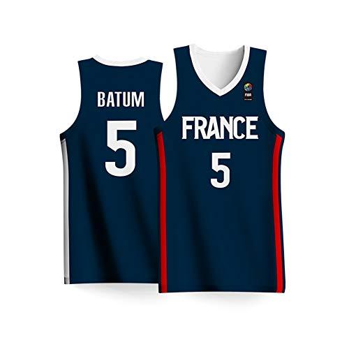 Haoshangzh55 2019 Copa Mundial de Baloncesto de los Hombres Francia Equipo Nº 5 de Baloncesto Ropa Nicolas Batum Jersey Camisa Adulta Niños Azul,4XL