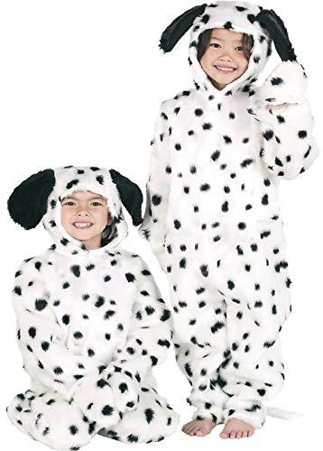 Enfants Garçon Filles de Fourrue Dalmatien Dalmatien Chien Combinaison Animal Journée du Livre Déguisements Costume 3-12 Ans - Noir/Blanc, 10-12 Years (152cms)
