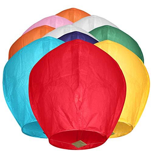 Maylai Lot de 10 lanternes chinoises en papier volant, faites à la main, pour anniversaire, mariage, anniversaire de mariage, couleurs assorties, 100 % biodégradables, écologiques (couleur 1)