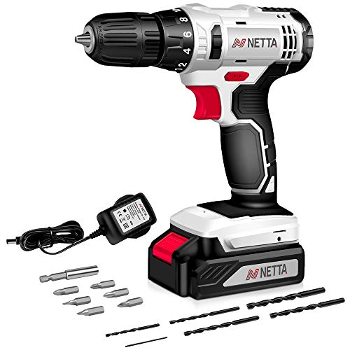 NETTA Cordless Drill Driver 13pc, 1300 mAh Li-Ion Battery 20V Lithium-Ion Combi Drill, Electric Screwdriver Accessory Kit, LED Work Light