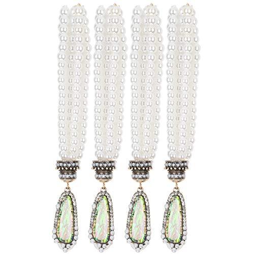 Pendientes de perlas Pendientes largos de perlas Pendientes colgantes de metal exquisitos Accesorios de moda Mujeres Niñas para perforar orejas