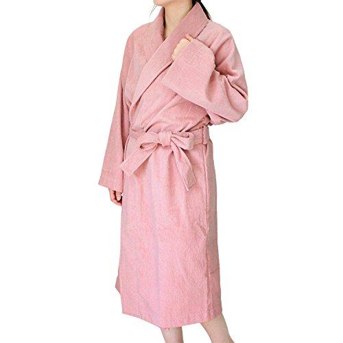 hiorie(ヒオリエ) 日本製 バスローブ ホテルスタイル <Mサイズ> モスピンク 両面パイル レディース ガウン