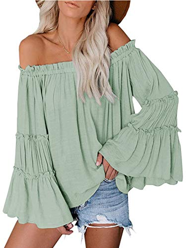 Womens Off The Shoulder Long Bell Sleeve Tops Flared Casual Loose Blouse (Green, X-Large)