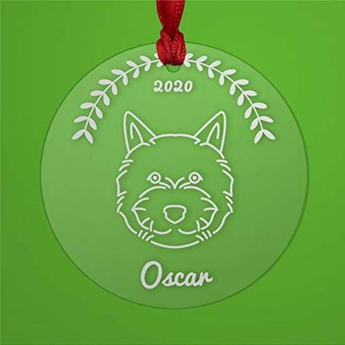 BYRON HOYLE Norwich Terrier - Adorno de Navidad personalizado acrílico transparente para perro rescate mamá o papá propietario pandemia decoración de Navidad adorno de boda regalo de vacaciones