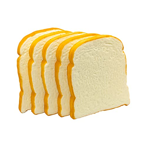 5 Pcs Simulation Artificial Bread Fake Bread Realistic Food Model for Kitchen Home Party Halloween Decoration (Toast)