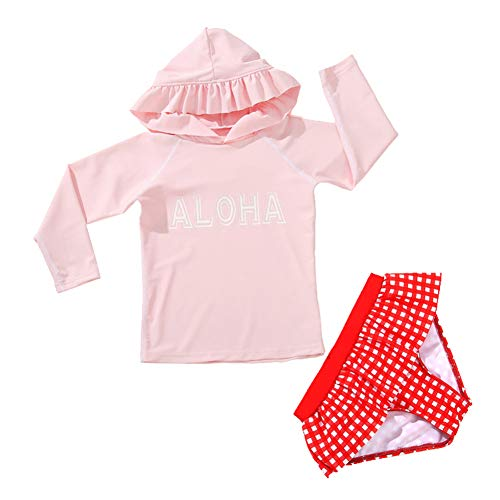 Digirlsor Baby Toddler Girls Long Sleeve Rash Guard Top and Bikini Bottoms Two Piece Swimsuit Set, 1-6 Years Pink