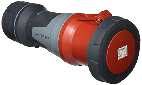 Mennekes 101300060 Kupplung Power Top Xtra, CEE-Steckdose, 400 V, 50-60 Hz, 125 A, 4-polig, Schutzgrad IP 67, Rot