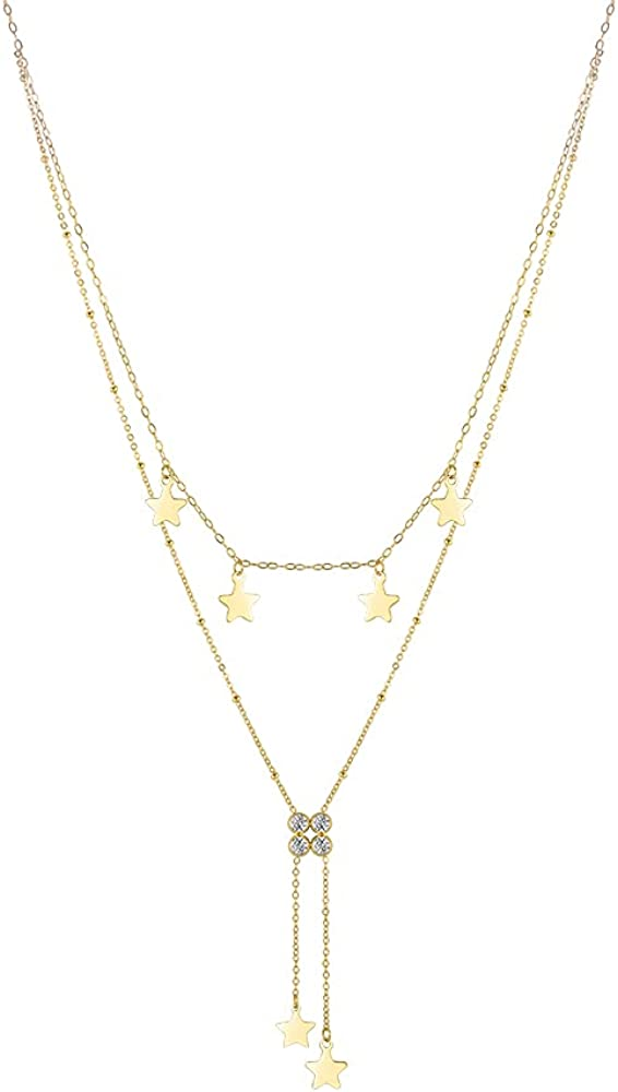 EF ENFASHION Trendy Layered Zircons Pendant Necklace,Multilayer Chain Necklaces,Simple Charm Necklace for Women / Teen Girls