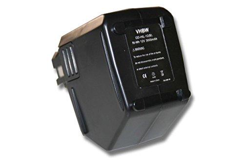 vhbw Ni-MH Akku 3000mAh (12V) für Werkzeuge Hilti SB12 wie Hilti SBP10, SBP12, SFB125, SFB105, 00315082.